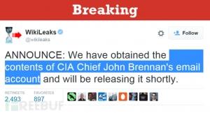 维基解密发力,CIA局长邮件内容即将曝光
