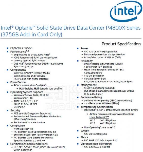 报道称,英特尔公司XPoint SSD待上市版规格曝光