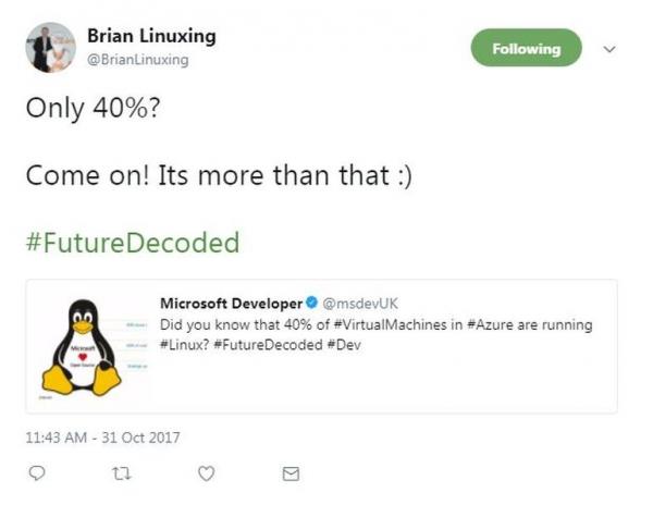 微软称:Azure中有40%的虚拟机运行Linux系统
