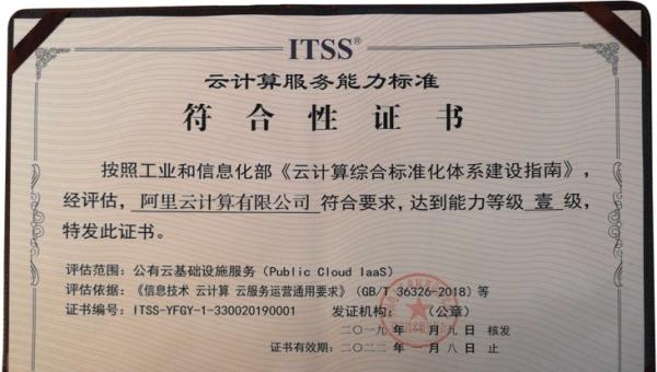 阿里云获ITSS最高等级认证:公共云、专有云服务能力双一级