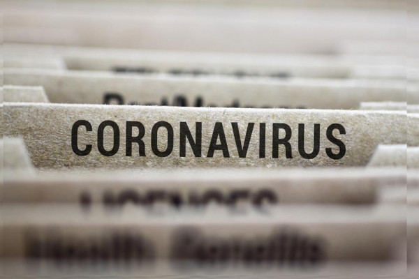 Coronavirus written on file folder label