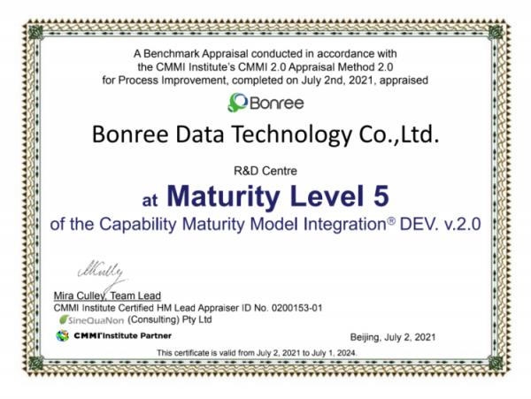 博睿数据通过CMMI5级评估,国内APM领域首家