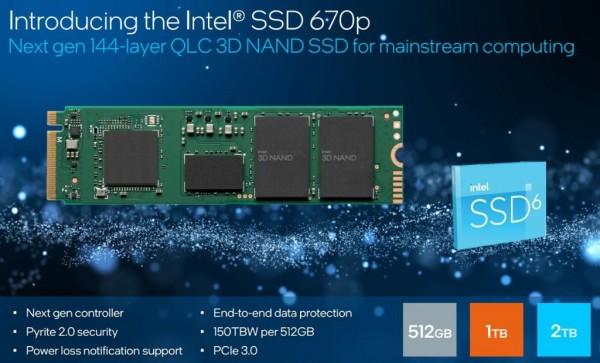 英特尔144层QLC 3D NAND技术固态盘670p发布,更强性能,更持久耐用!